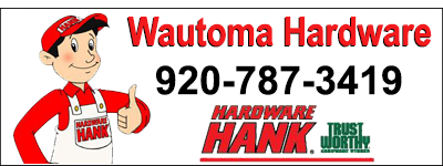 Wautoma Hardware 920-787-3419. Picture of Hardware Hank wearing red hat & shirt with white overalls